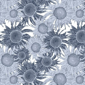 Rococo Brocade Sunflowers (ink and steel blue)