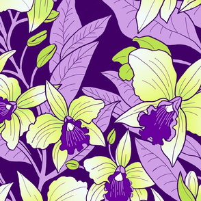 Tropical Orchid Blush-purple and yellow