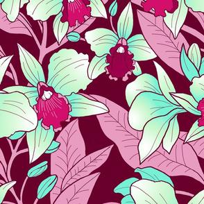 tropical Orchid Blush- aqua and magenta