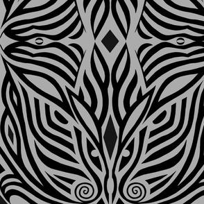 Modern Zebra Black and Gray