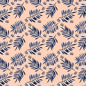 Watercolors palm leaves tropical beach minimal jungle island garden apricot navy blue SMALL