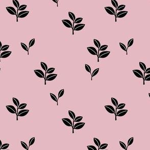Sweet garden delicate leaves botanical Scandinavian style minimal trend design mauve lilac