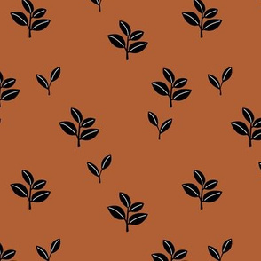 Sweet garden delicate leaves botanical Scandinavian style minimal trend design rust copper winter