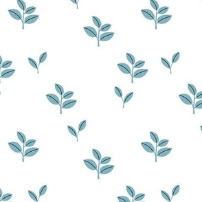 Sweet garden delicate leaves botanical Scandinavian style minimal trend design cool blue baby boy nursery