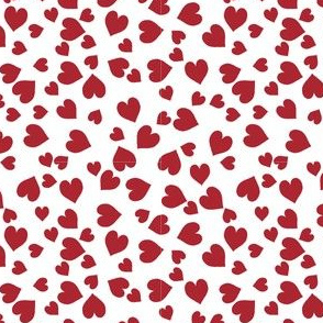 Ditsy Red Valentine Hearts on White