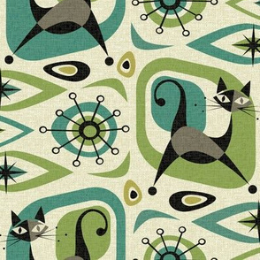 Mid Century Cat Abstract - Teal and Lime