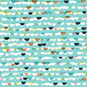 Waves and Boats Small M+M Aqua by Friztin