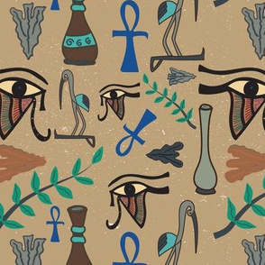 Vintage Beige Egyptian Eye of Horus
