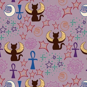 Egyptian Winged Cats (plum version)