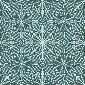 Lace pysanky motif Pine & Mint Green Pillow Wallpaper Fabric
