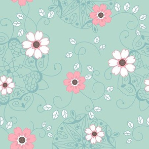 Flowers on turquoise - Small