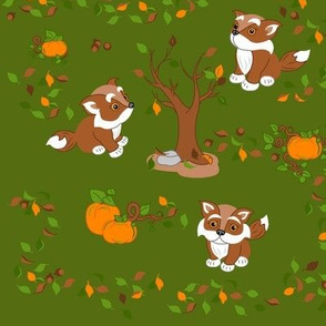 Little foxes in green