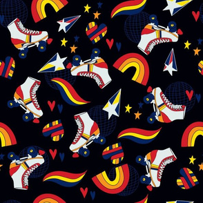 Roll With It Rollerskating Rainbow Stars
