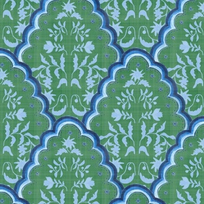 Large Green Blues Scallop Paisley