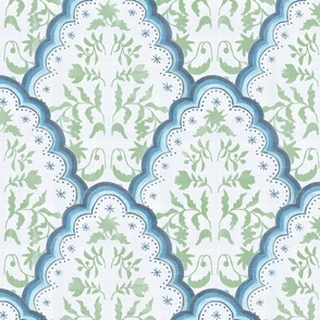 Large Blue and Green Scallop Paisley