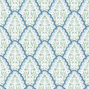 Medium Blue and Green Scallp Paisley