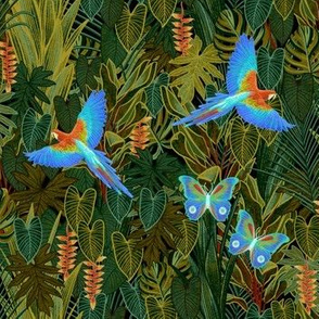 Jungle paradise- parrots and butterflies