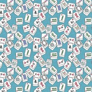 Mini Scale Mahjong Tiles on Aqua Swirls