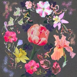Spring Wreath Chintz on Charcoal Background