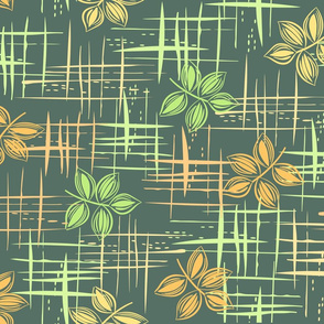 Green tones leaves pattern