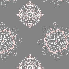 Gray pink mandalas