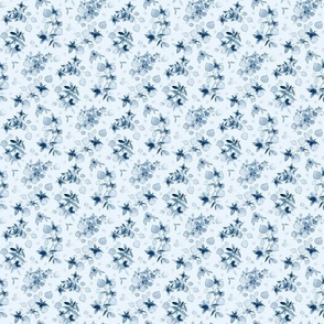 Classic blue watercolor floral - SMALL