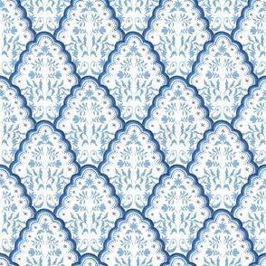 Medium Bright Blues Scallop Paisley