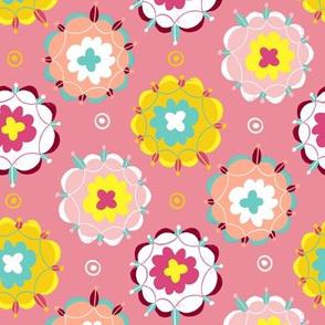 floral circle pink ditsy