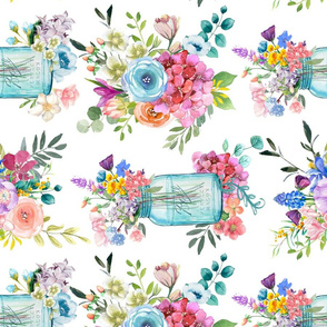 Watercolor Mason Jar Bouquet // Large (Rotated)