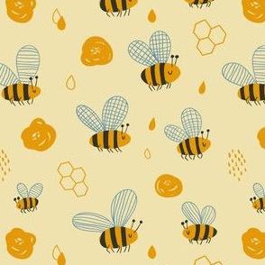 Cute cartoon honeybees