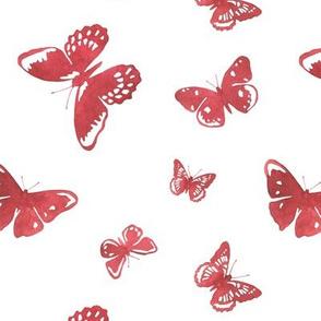 Red watercolor butterflies
