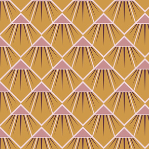 Art Deco Flower - Mustard and Pink