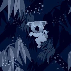Koalas in a dark blue forest