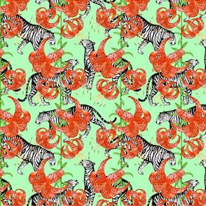 Tigers and Tiger Lilies (Green Background)