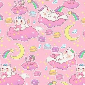 Cat and Rainbows on pink