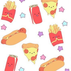 Cute Fast Food on White