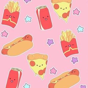 Cute Fast Food on Pink