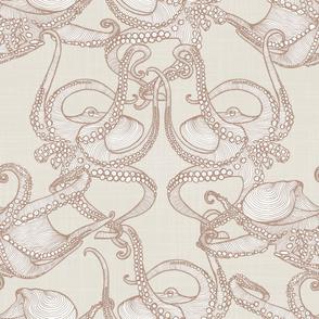 Cephalopod -  Octopi - Tan & Cream