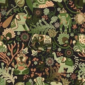 Asian elephants | vintage green