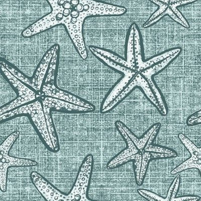 Starfish textured linen in pine and mint