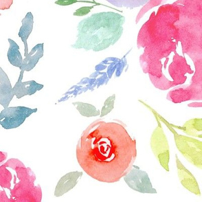 Vibrant Rosie Watercolour Floral on White Large - Railroad - 90°