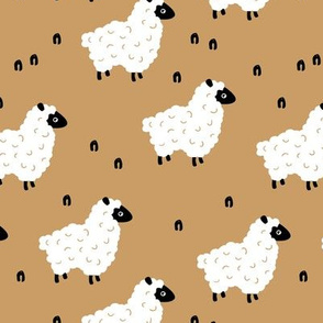 Little sheep friends and meadow Scandinavian farm animals design minimal style cinnamon ochre yellow neutral nursery baby