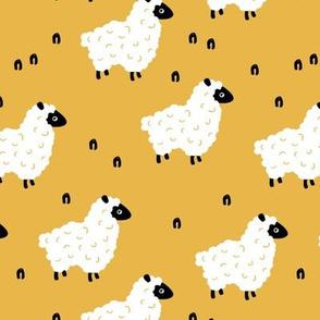 Little sheep friends and meadow Scandinavian farm animals design minimal style sunshine summer yellow neutral nursery baby