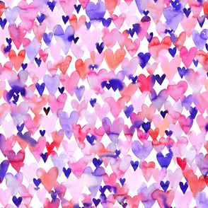 1000 hearts small - watercolor