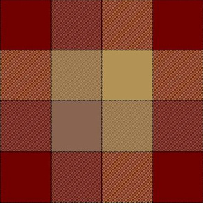 """paneled tartan check - 6"""" - red, taupe, soft gold"""