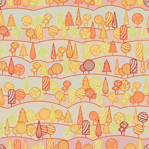 Trees. Geometric Forest Pattern.