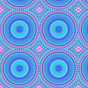 Blue, Turquoise and Pink abstract detailed Mandala
