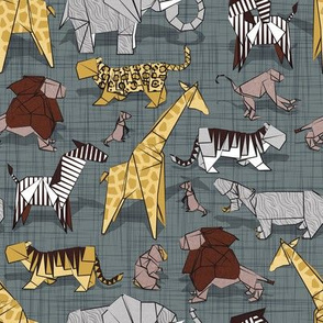 Small scale // Origami safari animalier // green grey linen texture background yellow giraffes