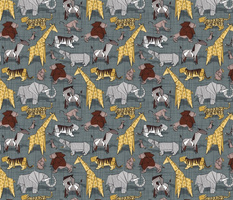 Small scale // Origami safari animalier // green grey linen texture background yellow giraffes