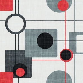 orbs and squares red and grey50